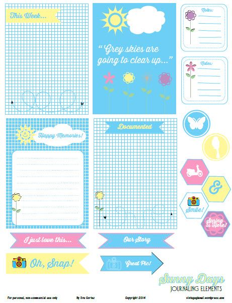 Free Printable Download - Sunny Days Journaling Elements - Vintage Glam Studio