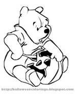 HALLOWEEN COLORING picture of Winnie the Pooh carving a Jack O'Lantern pumpkin
