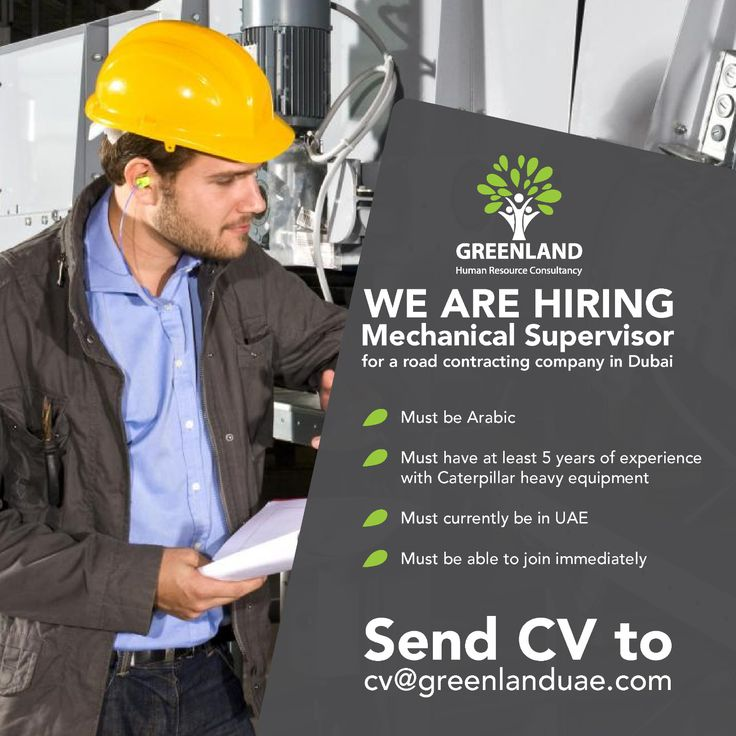 We are currently looking for a Mechanical Supervisor for a road contracting company in #Dubai 〰Must be #Arabic 〰Must have at least 5 years of experience with #Caterpillar heavy equipment 〰Must currently be in UAE🇦🇪 〰Must be able to join immediately Please submit your CVs to cv@greenlanduae.com  #GreenlandUAE #jobs #job #UAE #GCC #engineer #Dubai #UAEJobs #hiring #openvacancies #ME #MechanicalEngineer #توظيف #وظيفة #وظائف_شاغرة #فرص_عمل #تصميم #سيرة_ذاتية #امارات #عمل #خبرة #هندسة