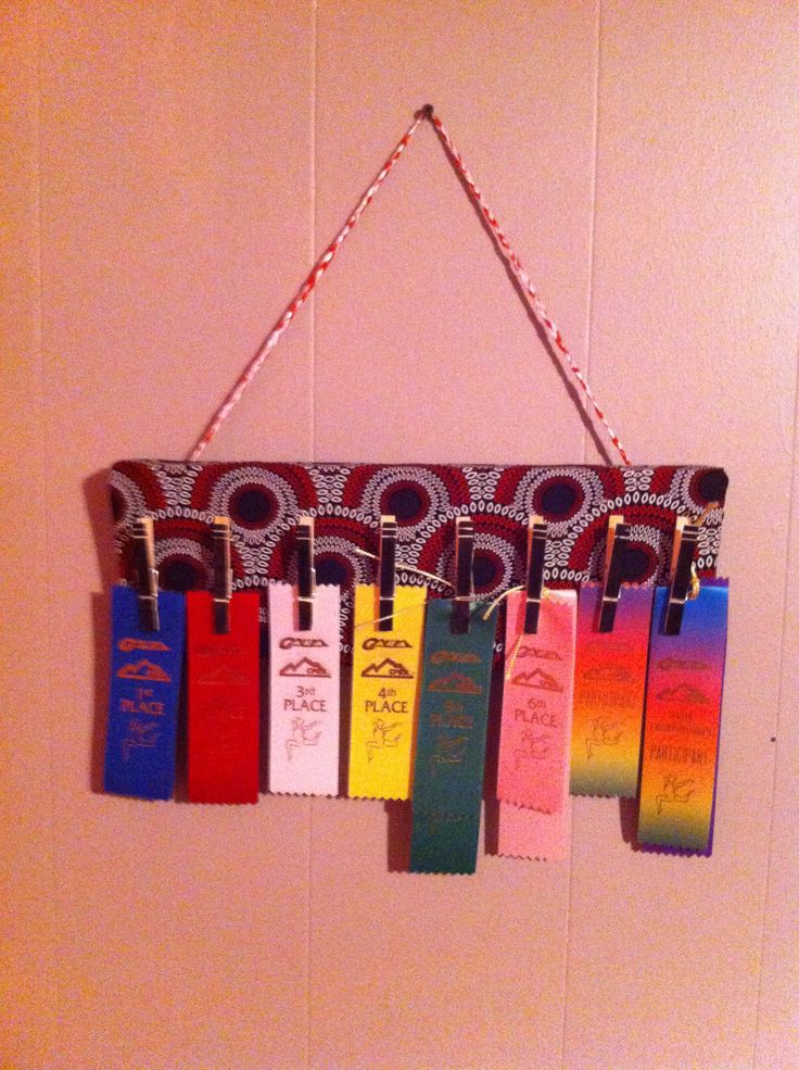 My daughter needed a way to display all of her ribbons from gymnastics.