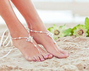 Perle barfüßigsandelholz, Fuß, Schmuck, Strand Hochzeit Sandalen, Hochzeit Fu…