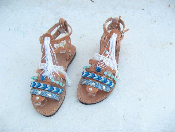 Boho Sandals/Leather Gladiator Sandals/AEGEAN/Womens by EATHINI