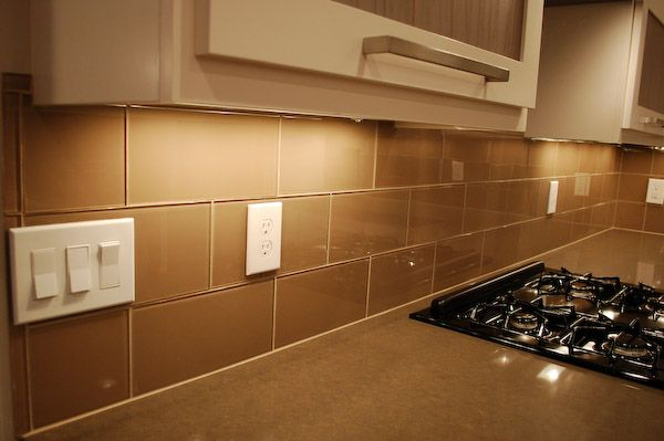 Khaki Glass 4 X 12 Subway Tile Cleanses Kitchen