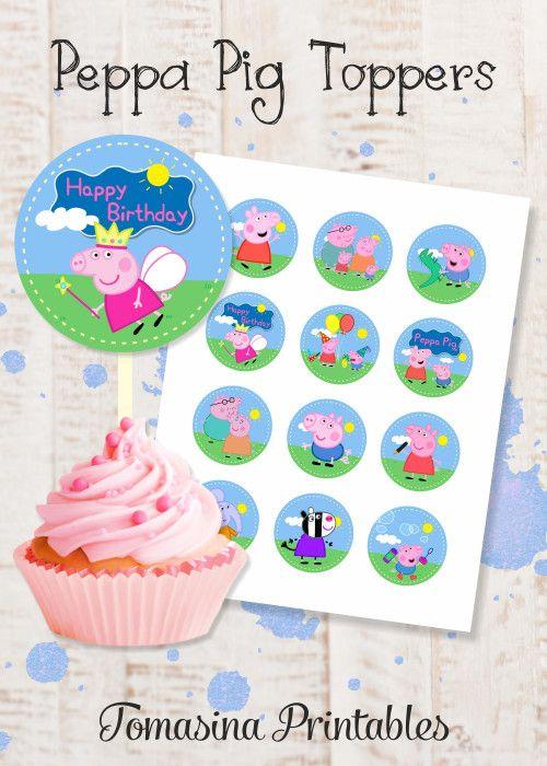 Peppa Pig Cupcake Toppers Peppa Pig Inspired Peppa Pig Toppers Peppa Pig Birthday Party Peppa Pig Printables Peppa Pig Party Supplies Peppa and George Birthday #peppapig #birthdayparty #caketoppers