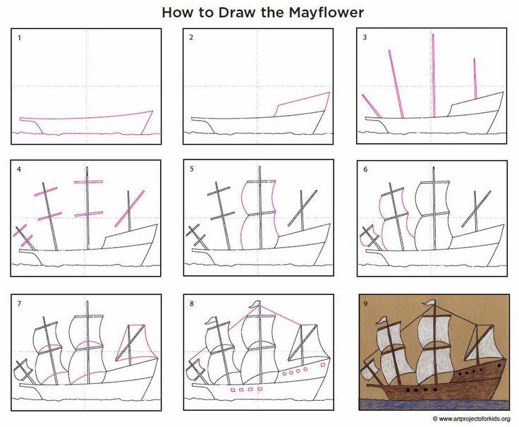 How to draw the Mayflower. Free pdf tutorial. #artprojectsforkids #mayflower #Thanksgiving