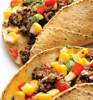 Black bean tacos with corn salsa ! 321 calls/serving, with great protein and fiber!  Delish, too.