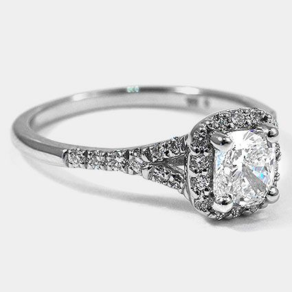 Platinum Harmony Ring // Set with a 0.73 Carat, Cushion, Ideal Cut, F Color, VVS2 Clarity Diamond #BrilliantEarth