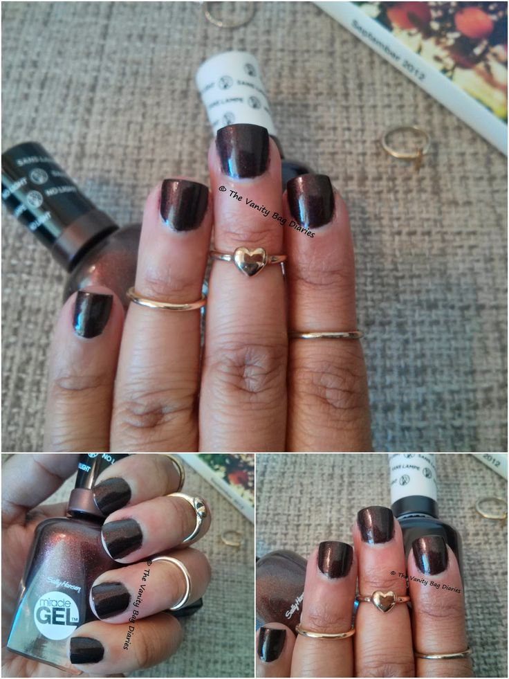 Today's post is a Manicure Monday featuring Sally Hansen Miracle Gel nail polish in Spice Age. Spice Age is a beautiful rich chocolate brown colour with gold shimmer. The shimmer is not as obvious on the nails as in the tube. The colour shows opaque in two coats.   I am usually not inclined towards