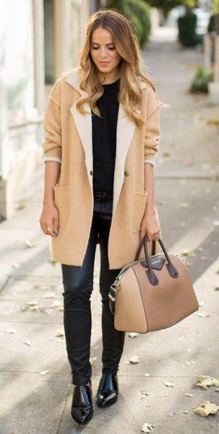 #preppy #fashion / Camel Coat // Black Top // Camel Tote Bag // Black Pants // Leather Flats