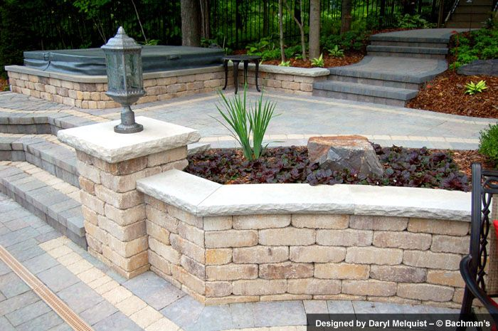 Modular Concrete Block Walls And Wall Caps Pavers Inset