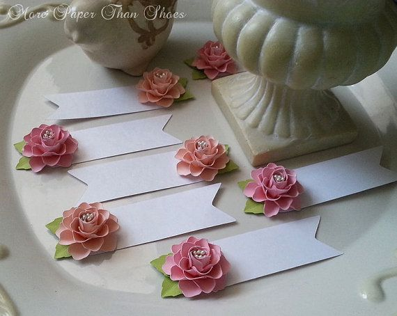 Place Cards  Escort Cards  Paper Flowers  by morepaperthanshoes
