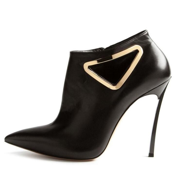 Hot Selling <b>Women Shoes</b> Winter Black #Leather Triangle Decor ...