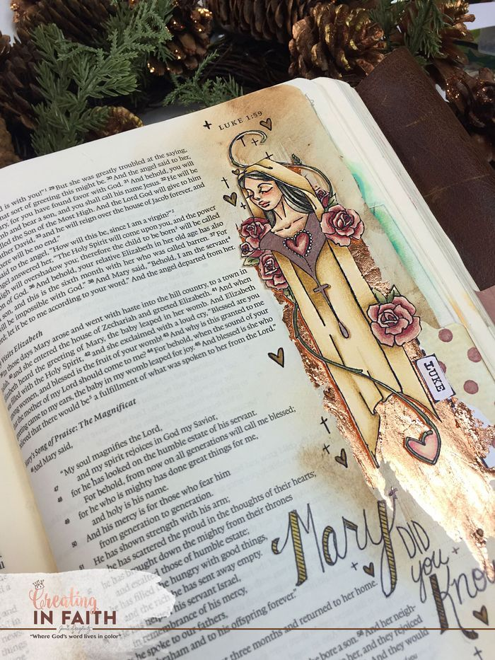 On the 5th Day of Christmas...beautiful Bible journaling page and tag by Jamie Dougherty. Love her designs!