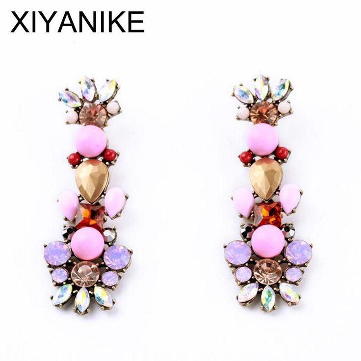 Bijoux Vintage Style Crystal Flower Drop Earrings - Pastel Pink / Purp                      – Lavenderella