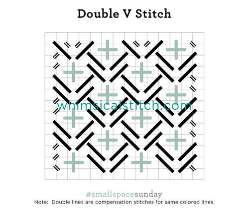 Double V Stitch from April 30, 2017 whimsicalstitch.com/whimsicalwednesdays #smallspacesunday blog post.