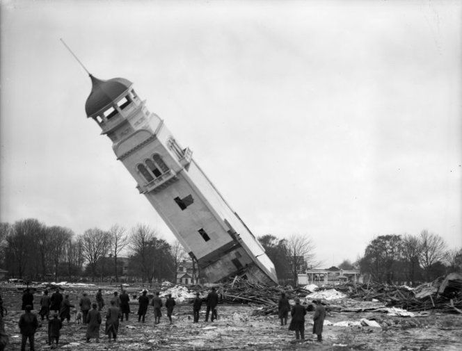Demolition of the northern tower of the New Zealand International Exhibition in Christchurch