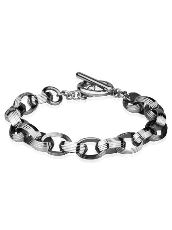 Stainless steel elegant bracelet with oval chain links decorated with numerous ridges and polished aspect. All stainless steel jewelry is delivered in free, shock-proof envelopes.