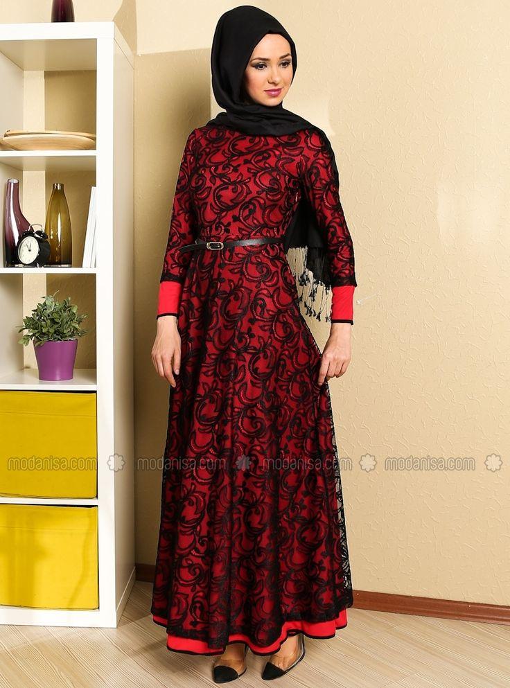 MODAYSA فستان سهرة - شال - أحمر