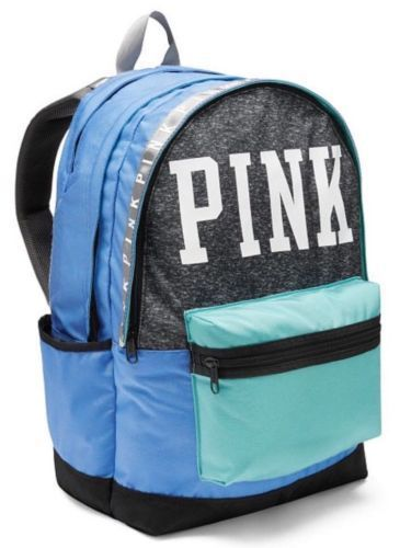 e1567dddd072 Victoria s Secret PINK Campus Backpack Multicolored Blue and Turquoise  BookBag