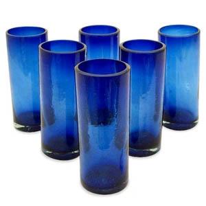 Novica Pure Cobalt Highball Glasses, Set of 6