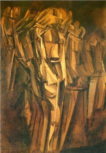 Marcel Duchamp (1887 - 1968) | Cubism, Futurism | Sad young man in a train - 1911