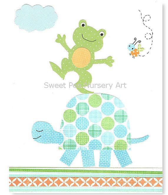 Turtle Nursery Art Frog Nursery Boy Nursery by SweetPeaNurseryArt, $15.00