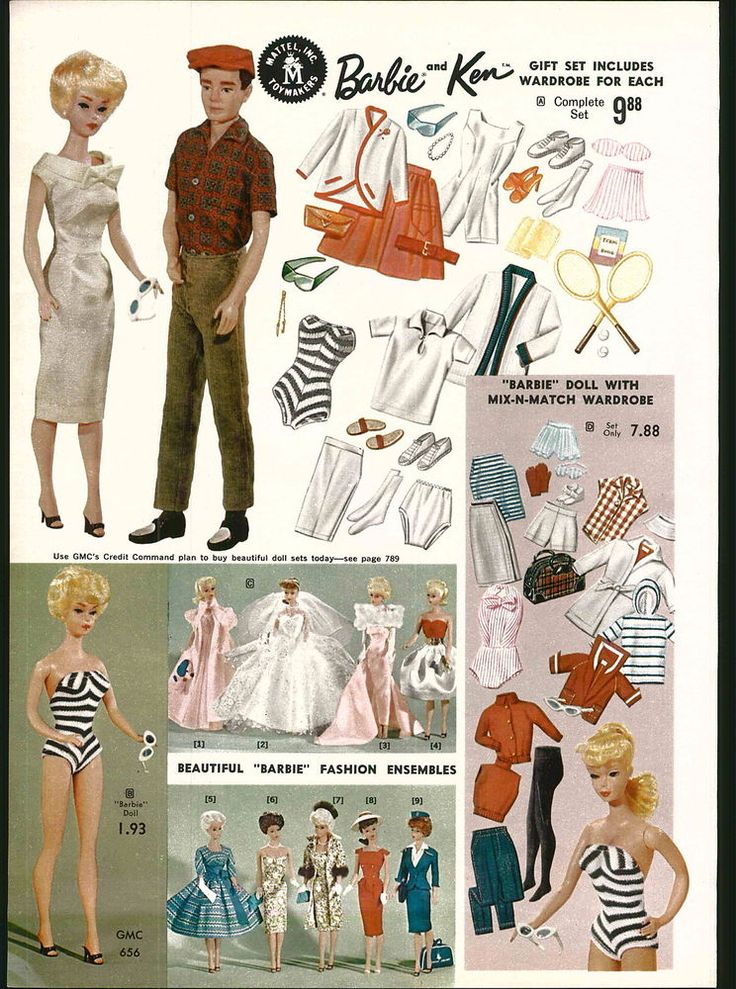 1962 ADVERTISEMENT 2 Page Mattel Barbie Ken Fashion Dolls Wardrobe COLOR in Other | eBay