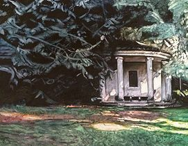 Pavilion Under Tree Cover Oil painting on Linen. Dartington Hall gardens.