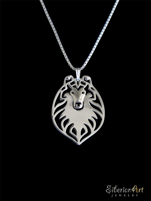 Rough Collie  sterling silver pendant and by SiberianArtJewelry