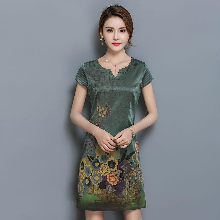 2017 summer silk dress women's large code of self-cultivation fashion printing heavy silk dresses