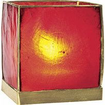 Red Capiz Wholesale Candle Holder (gold edged).  2.5 inches x 2.5 inches x 2.5 inches high. Made of natural sea shell from the windowpane oyster, these light and delicate candle holders are hand-crafted in the Philippines. Each piece of shell is hand-cut and wrapped in gold foil for an especially exotic look. Beautifully translucent and opalescent, they provide a soft and shimmery candlelight glow. We recommend the use with tealight candles with these holders.