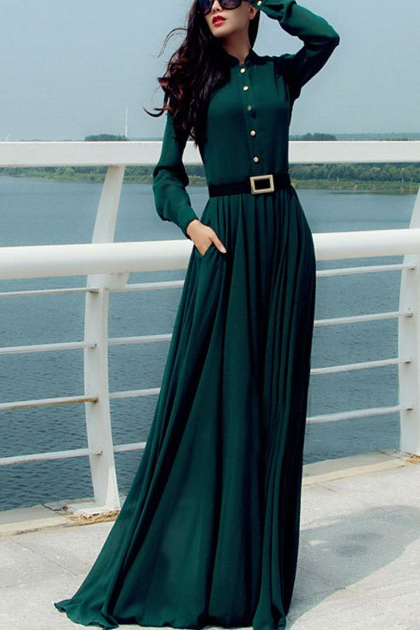 Dark Green Button Up Long Sleeve Vintage Maxi Dress #Dark #Dress #maykool