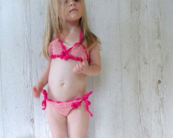 Crocheted Bikini for girls crochet swimsuit children by Gaborylia