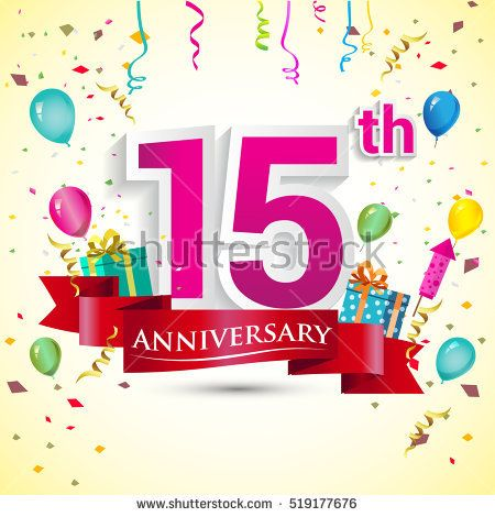 15th Year Anniversary Celebration Design, with gift box and balloons, red ribbon, Colorful Vector template elements for your birthday party.