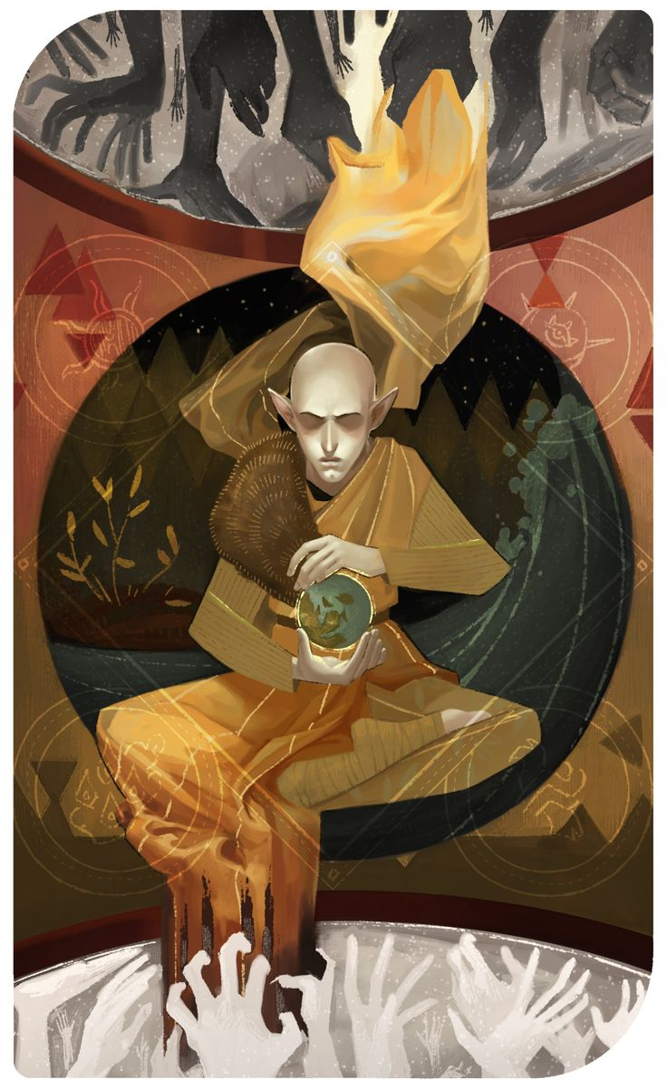 The World He didn't do it to be right. He did it to save them. This is a pre-game card for Solas. For spoiler reasons and also because everyone already knows, not much of an explanation for this one. Three zones from outer to inner: Beyond/Fade/Thedas. Assana Lavellan Saga Want a card of your own? Hire me! (It'd be somewhere between $80-200). Anyway, probably more to come. Stay tuned!