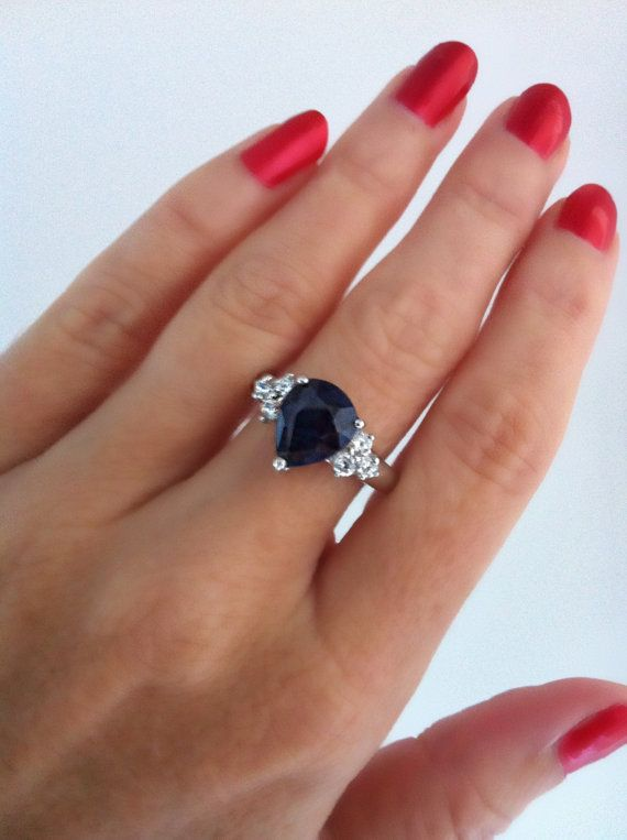 Sterling Silver blue sapphire and cubic by LenaMayJewelley on Etsy