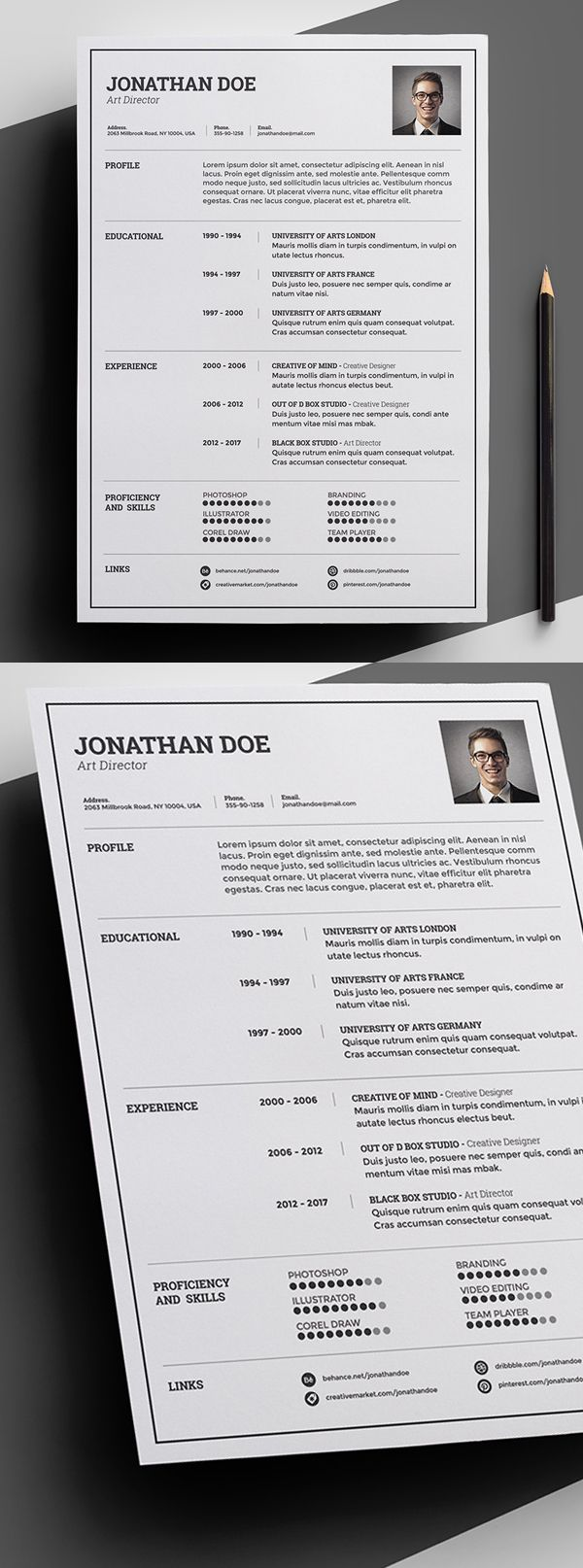 Beautiful creative free resume templates cleanly organized