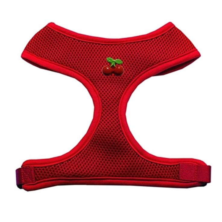 Red Cherry Chipper Dog Harness - Red. Brighten up your summer with the Red Cherry Chipper Dog Harness!Red cherries on chestSoft polyester meshPadded chestWhy We Love It:Take a summer stroll in the park with this darling Red Cherry Chipper Dog Harness in red. The soft mesh harnesses are conveniently made to slip over the dog's head and attach only once under the belly. There is a leash attachment on the back for walking. They contain a layer of padding on the chest for extra comfort...