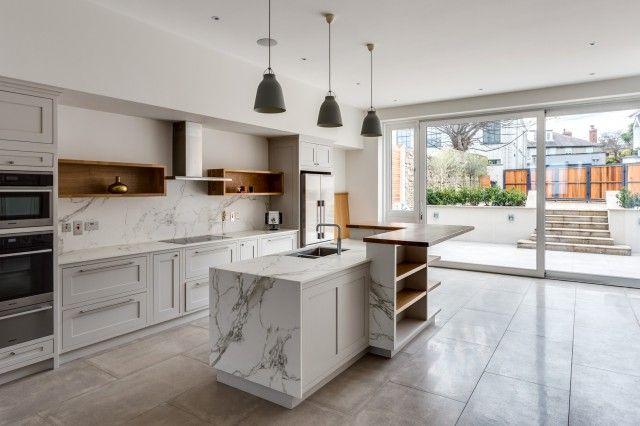 Kitchen Inspiration Large Spacious Open Plan Kitchen Featuring Neutral Large Format Beige Floor Tiles From Tiles Kitchen Inspirations Modern Kitchen Kitchen