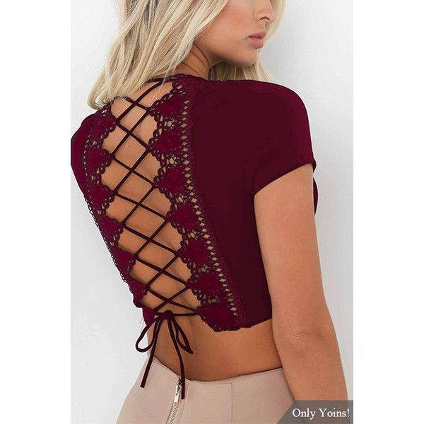 Yoins V-neck Criss-cross Back Crop Top in Burgundy (18 AUD) ❤ liked on Polyvore featuring tops, burgundy, sexy crop top, sexy v neck tops, burgundy crop top, bodycon crop top and short sleeve crop top