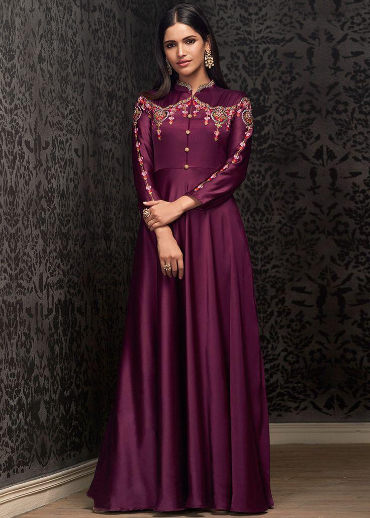 Purple Readymade Satin Floor Length Gown