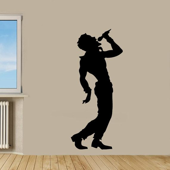 Singer Wall Decals Man Singing Microphone Music Shop Vinyl Decal Sticker Home Decor Wall Art Mural Interior Design Girl Nursery Decor KG456