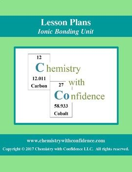 Ionic Bonding Unit lesson plans for Level Chemistry Students, Advanced Chemistry Students, & a Flipped Classroom! Topics Covered: • Ions & Polyatomic Ions • Compounds & Chemical Bonding • How does an Ionic Bond Form? • Ionic Formulas • Naming Ionic Compounds • Ionic Bonding with Metals that Form Different Ions • Properties of Ionic Compounds ***Check out more Chemistry with Confidence Ionic Bonding Unit...