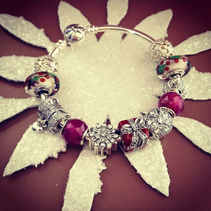 $279 Pandora Bangle Charm Bracelet Red Purple Green White.