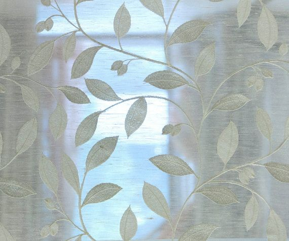 Off white leaves embroidery sheer poly linen cm width