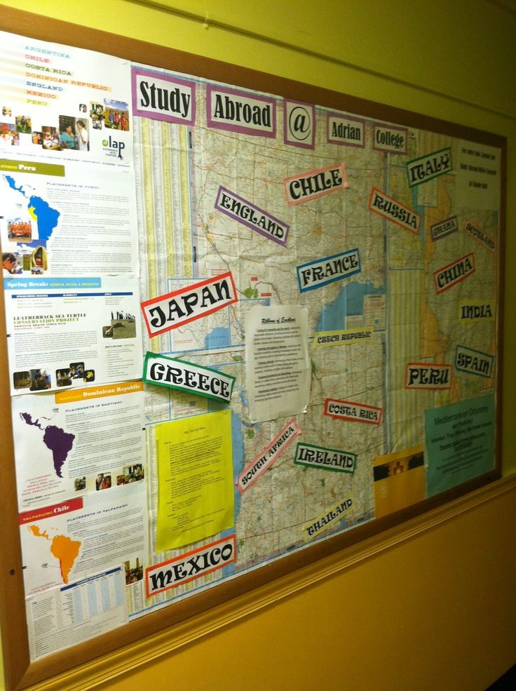 Study Abroad Bulletin Board.  Use road maps as the background. Fits with a travel theme and can incorporate an on-campus resource!