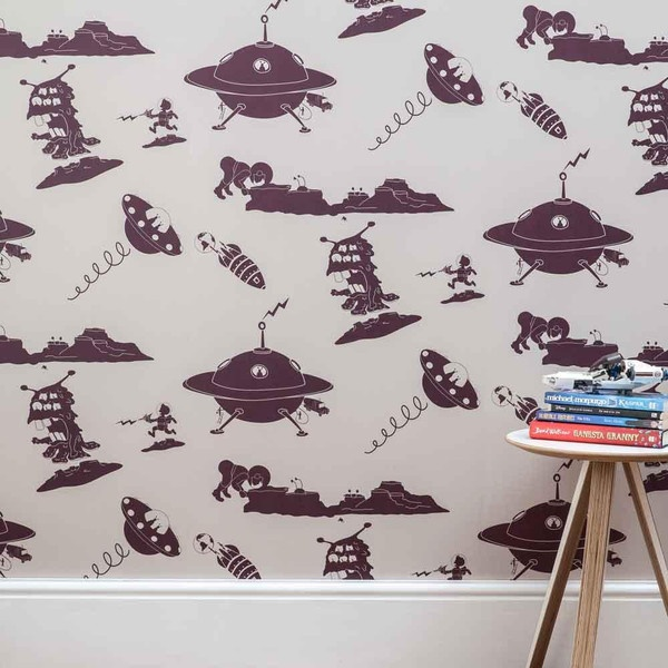 PaperBoy Final Frontier Stone Purple Kids Wallpaper Kidsrooms Kidswallpaper