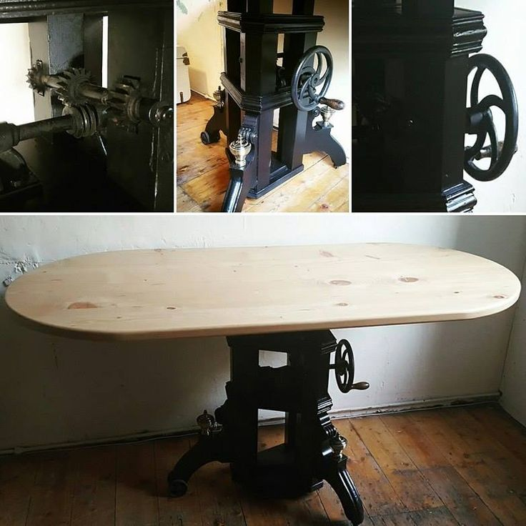 Adjustable bar / diner table in Steampunk style. This one off wooden table is made from reclaimed materials by PLP Woodworks.