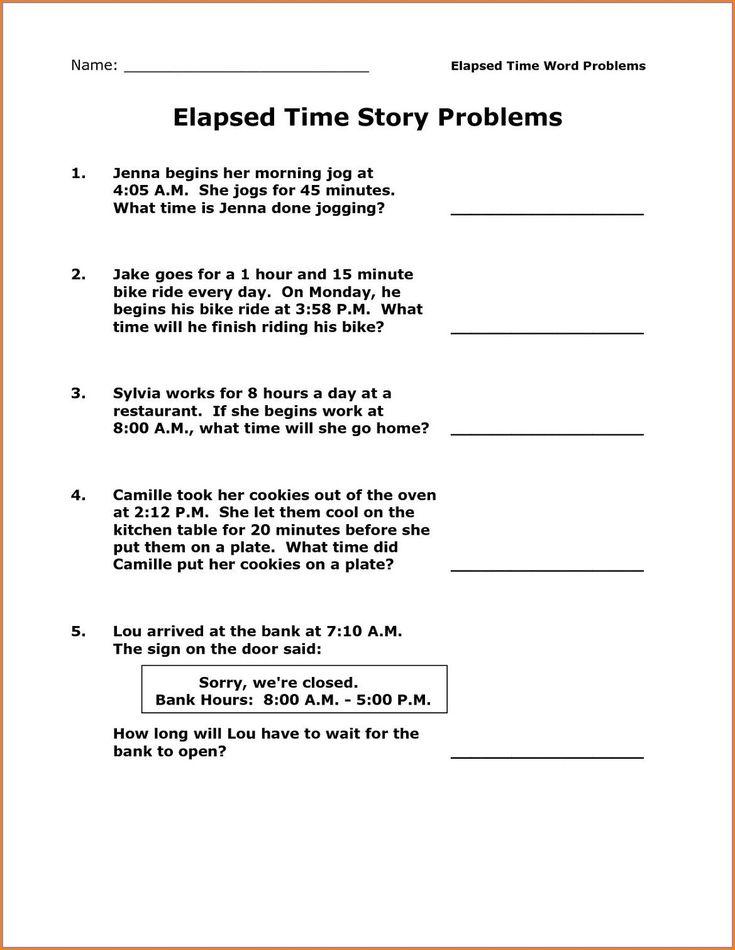 Elapsed Time Worksheet 3rd Grade Time and Money Worksheet ...