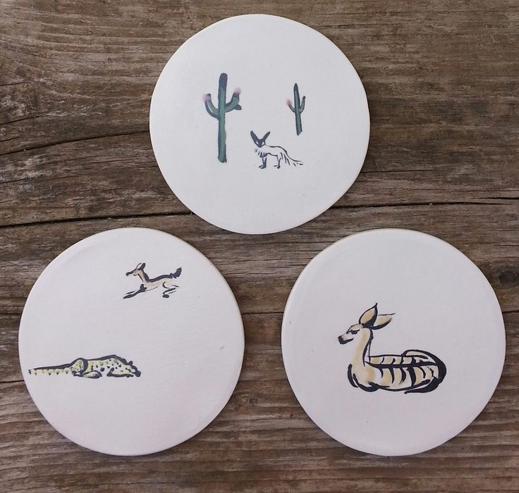 Ceramic coaster, handpainted, unique, kitchenware, homedecor, animals. Coasters by Aura Kajas